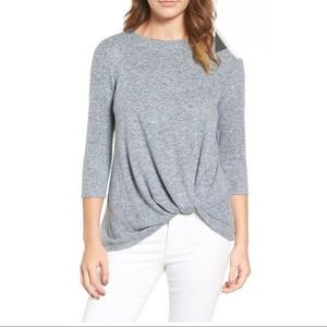 Gibson Cozy Twist Front Pullover gray. Soft.